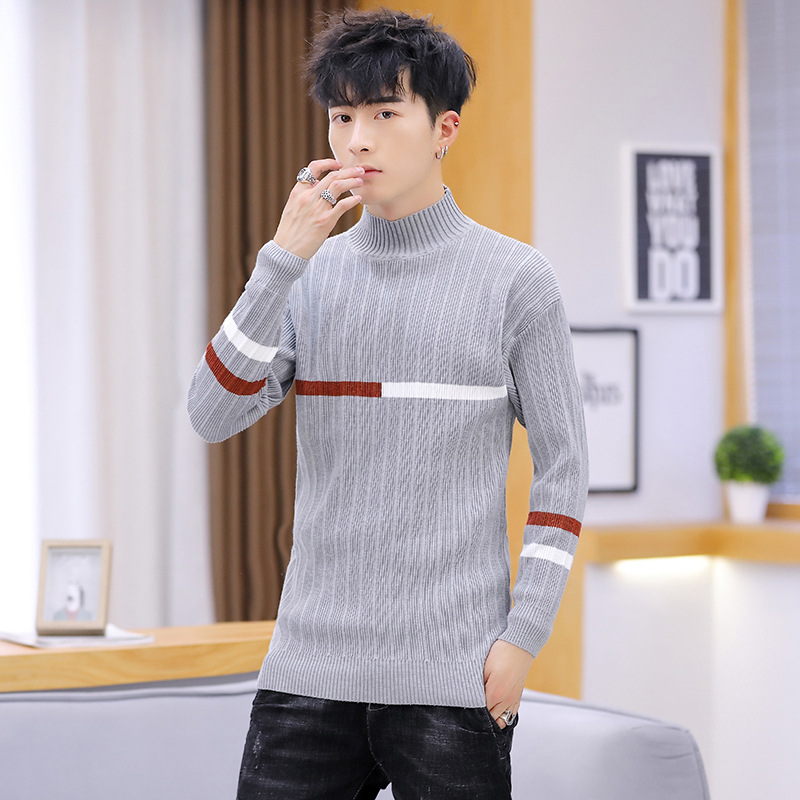 Men Sweater Long Sleeve Winter Black Yellow Gray Pink Blue New Turtleneck Pullovers Fashion Mens Sweaters