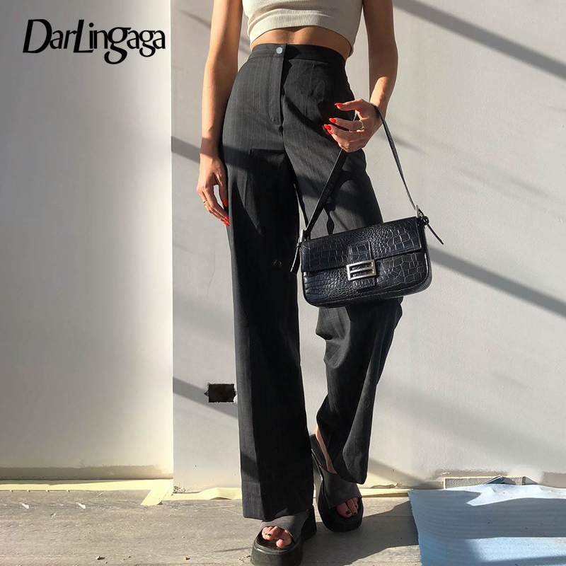 Darlingaga Elegant Fashion Stripe High Waist   Pants   Women Straight Casual Ladies Trousers Sweatpants Harajuku   Pants     Capri   Bottom