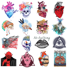 Pulaqi Punk Patched Transfers Vinyl Patch Stickers Iron On Transfer For Clothes Fabric Skull Heart Patches DIY Applique Badges iron on patches big skull punk heat transfers for clothes stickers military badges diy t shirt applique tops print washable e