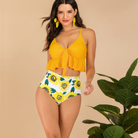 Sexy Swimsuit High waist Swimwear 2 Piece Beach Bikinis 2019 Mujer Rash Guard Brazilian Bikini Push Up Sports bra for women gym