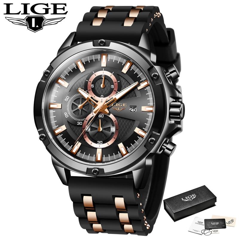 2020 New Mens Watches Top Brand Luxury Watch Men Military Waterproof Silicone strap Quartz Wrist Watch For Men Sport Chronograph 6