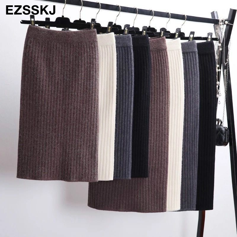 60-80CM Elastic Band Women Skirts Autumn Winter Warm Knitted Straight Skirt Ribbed Ribbed Mid-Long Skirt Black