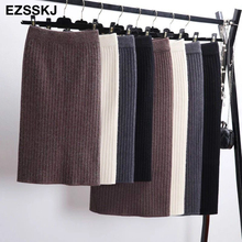 60 80CM Elastic Band Women Skirts Autumn Winter Warm Knitted Straight Skirt Ribbed Ribbed Mid Long Skirt Black