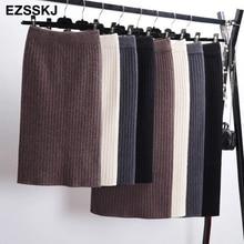 Jupe droite tricotée chaude mi longue noire 60 80CM pour femme à bande élastique, tenue automne hiver