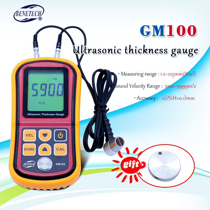 GM100 Digital LCD Display Ultrasonic Thickness Gauge Metal Testering  Measuring Instruments 1.2 To 200MM Sound Velocity Meter