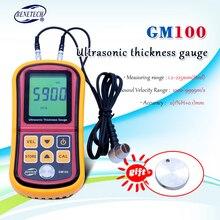 GM100 דיגיטלי LCD תצוגת אולטרסאונד עובי מד מתכת Testering מכשירי מדידה 1.2 כדי 200MM מהירות קול מטר