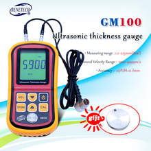 Gm100 digital display lcd ultrassônico medidor de espessura metal testering instrumentos de medição 1.2 a 200mm medidor de velocidade sadia