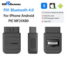P01 bluetooth v1.5 pic18f25k80 para iphone android faslink leitor de código automotivo obd2 scanner carro diagnóstico pk icar2 elm327