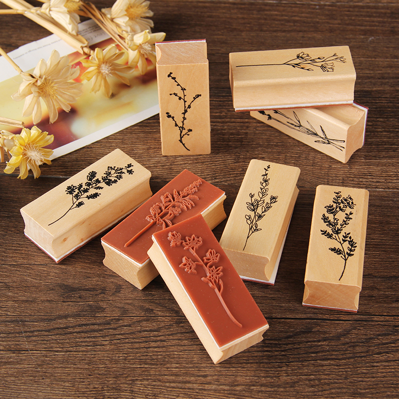 Herbal Plants Pattern Stamp Vintage Wooden Rubber Stamp For Diy Craft Card And Scrapbooking