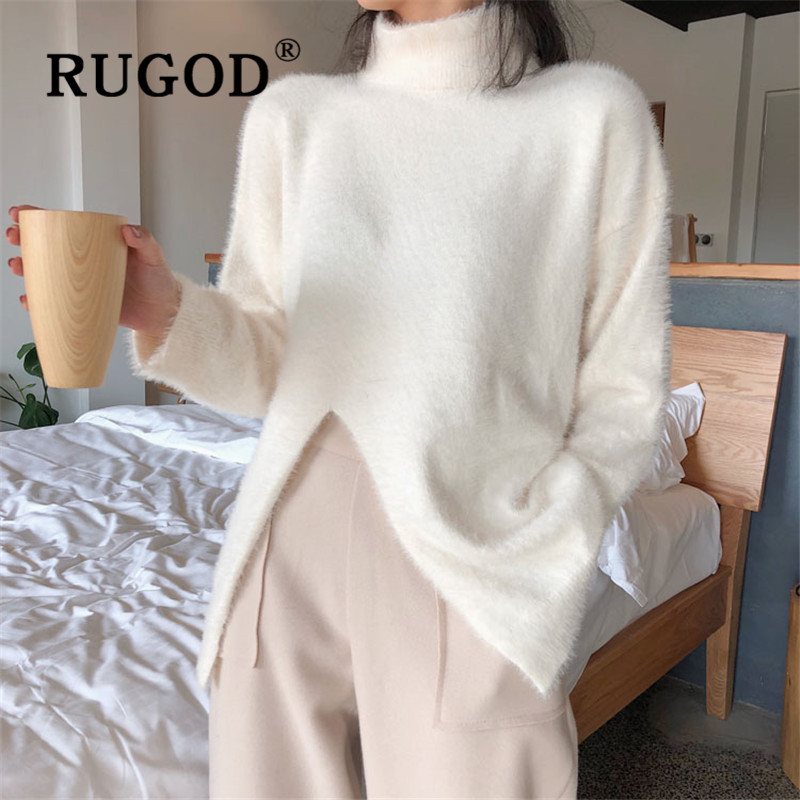 RUGOD 2019 New Autumn Warm Women's Turtleneck Sweater Pullovers Cashmere Split Loose Soft Knit Pull Fashion Female Casual Tops