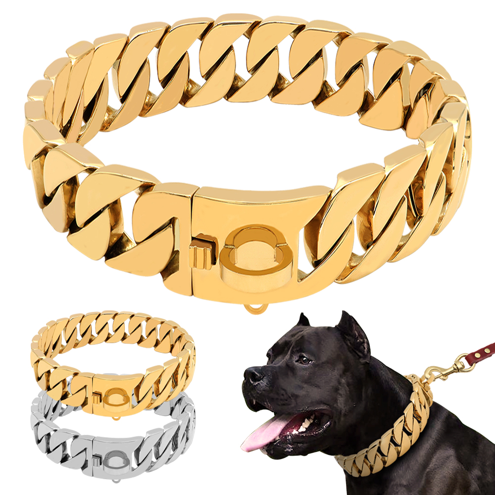 Accessories - Strong Metal Dog Chain Collars Stainless Steel Pet Training Choke Collar For Large Dogs Pitbull Bulldog Silver Gold Show Collar VIP Dog Collar