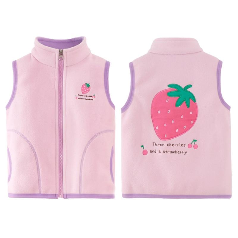 2-6Yrs Children Baby Girls Autumn Fleece Vest Kids Winter Waistcoat With Zipper 2