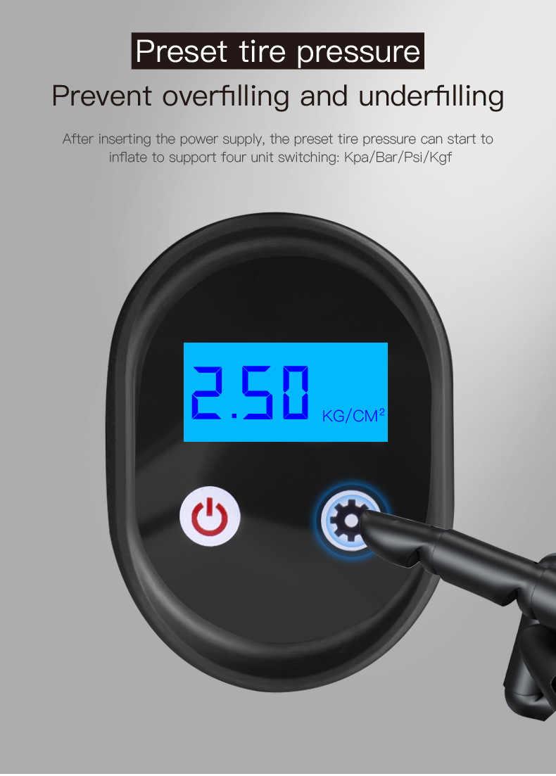 150PSI เครื่องอัดอากาศไร้สายมือถือ Inflatable Air ปั๊มรถยาง Inflator LCD ดิจิตอลชาร์จสำหรับรถจักรยานยนต์อัตโนมัติ