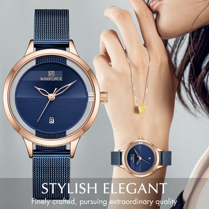 NAVIFORCE Women Watch Top Brand Luxury Ladies Fashion Simple Stainless Steel Quartz Watches Female Waterproof Date Wristwatch|Women's Watches| - AliExpress