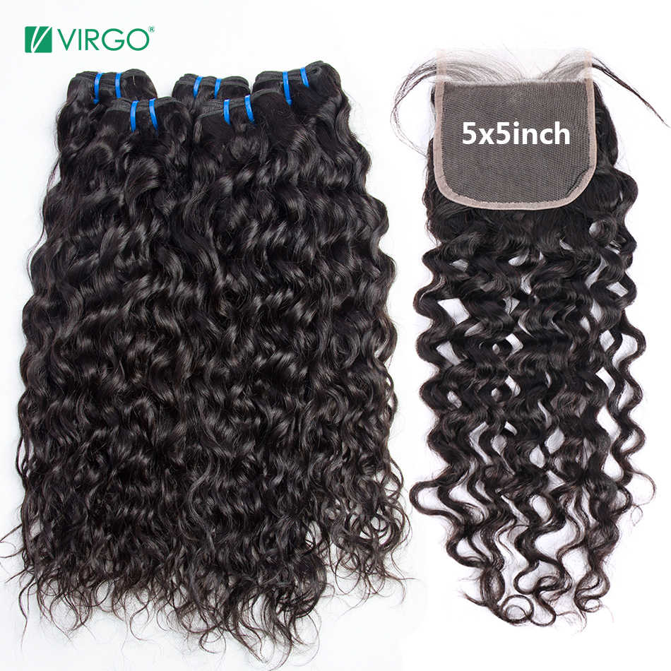 Virgo Hair Brazilian Water Wave 3 Bundles With Closure Human Hair Bundles with 4X4 5X5 6X6 Closure Human Hair NonRemy Hair Weave