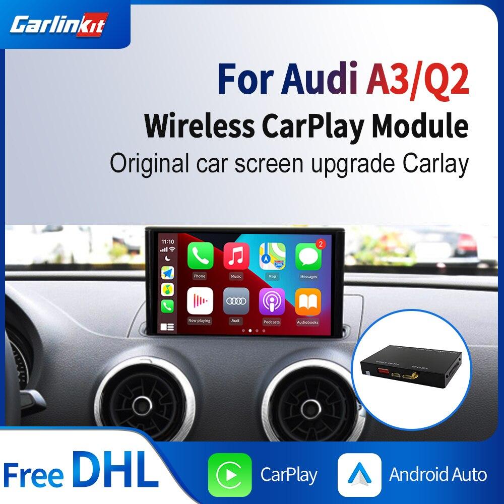 Carlinkit decodificador sem fio carplay android auto para audi a3 q2 mmi 3g + multimídia airplay espelho música mapa caixa inteligente ios 14 kit