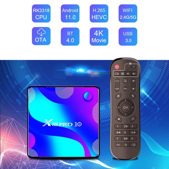 X88 PRO 10 Android 11 Smart TV Box X88 PRO10 4K Media Player Dual Wifi Set Top Box RK3318 Quad Core Google Voice Assistant 2
