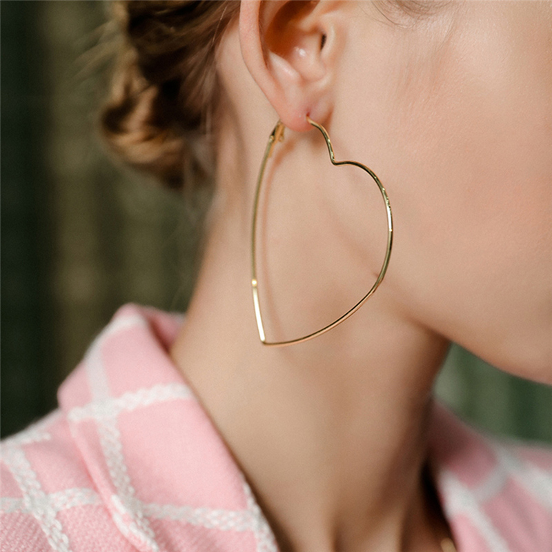 Big Hoop Earrings Sexy Earrings Accessories Fashion Exaggerated Large Hoop Ear Jewelry Smooth Heart Earrings For Women Girl's