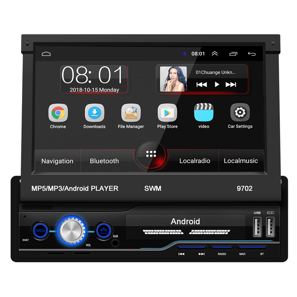 Mirror Link Android 8.1 Car Radio Retractable GPS Wifi Autoradio 1 Din 7'' Touch Screen Car Multimedia MP5 Player Support Camera image
