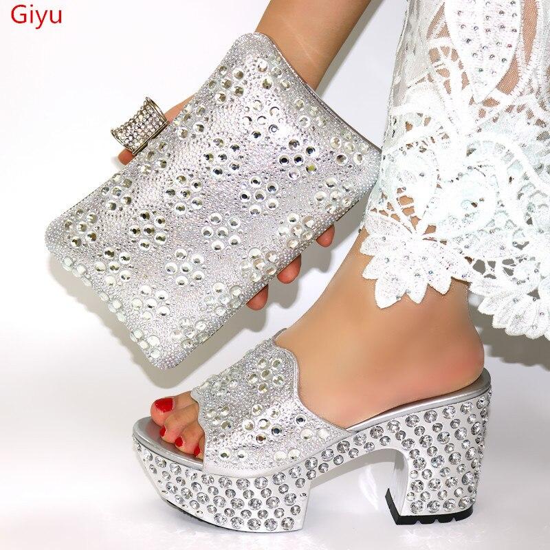 Doershow chaussures et sacs italiens pour assortir les chaussures avec un ensemble de sacs décoré de strass femmes nigérianes ensemble de chaussures de mariage! HWQ1 8 - 4