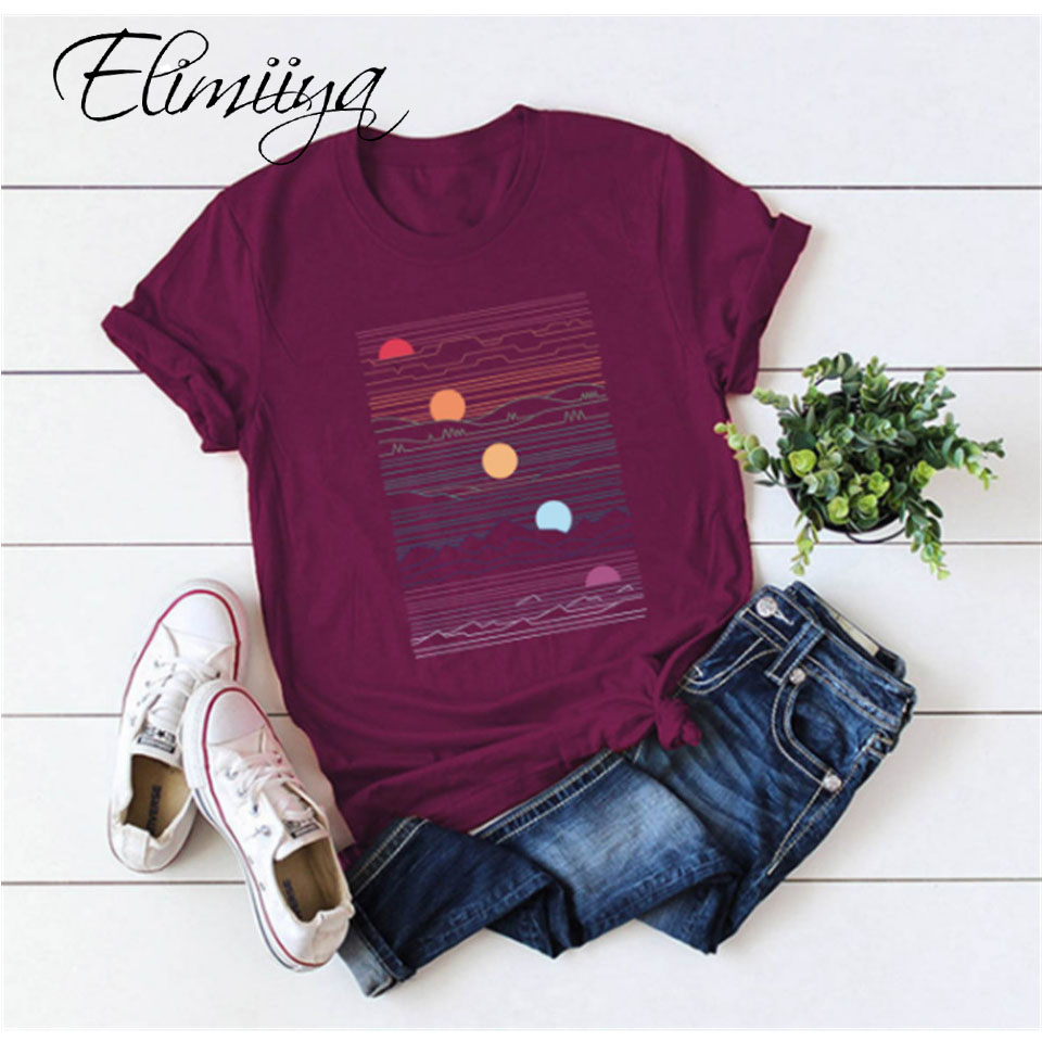 Elimiiy Abstract T shirt Women Oversized Print T-shirt Short Sleeve O-Neck  Womens clothing  Ladies Tops Tees 2020 Summer Top 1