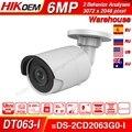 Hikvision OEM 6MP IPC DT063-I OEM от DS-2CD2063G0-I EasyIP 2 0 Plus 6MP CCTV камера IR Bullet Network Face Detect sd-карта