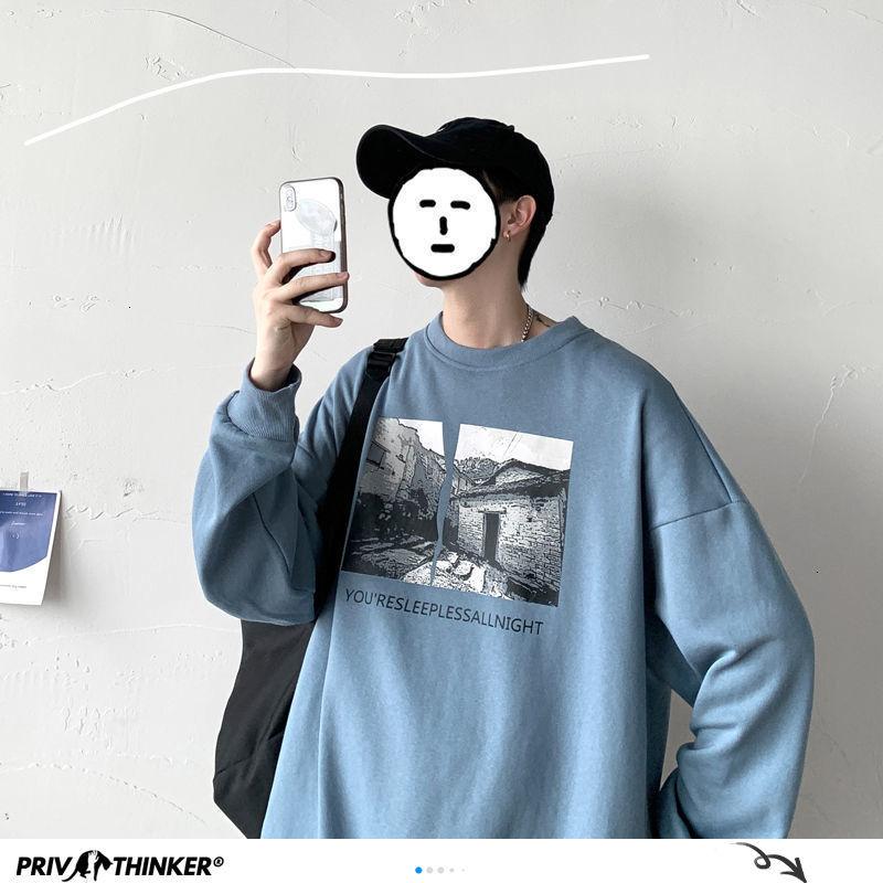 Privathinker Graphic Printed Men Hoodies 2020 Autumn New Men's Vintage Sweatshirts Korean Style Man Streetwear Casual Pullovers