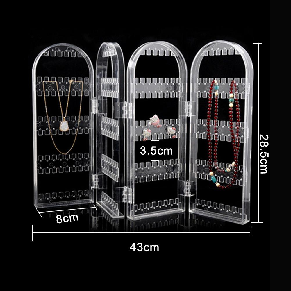Jewelry Organizer Folding Transparent 240 Holes Stud Earring Holder 4 Panels Jewelry Display Rack For Necklace/Dangle Ear Rings