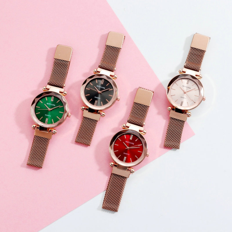 Top Brand Sets Star Watch For Women Rose Gold Mesh Magnet Starry Sky Women Bracelet Watch Ladies Wrist Watches Relogio Feminino