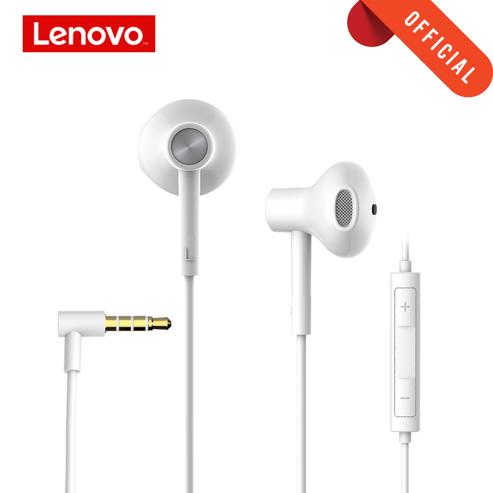 Lenovo Earphone Semi-in-ear Wire-controlled Headset HIFI Sound Insulation Noise Reduction Headset Ceramic Speaker with Mic