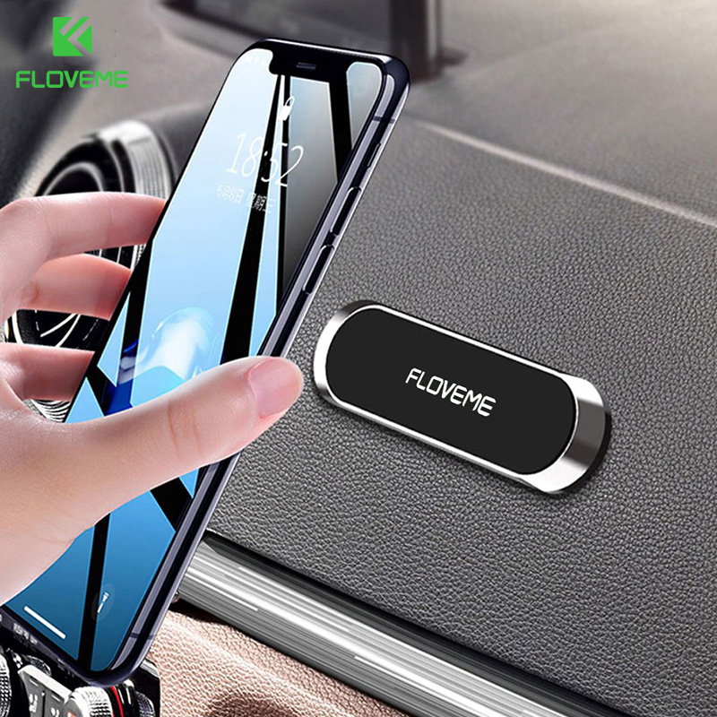 FLOVEME Mini Strip Shape Magnetic Phone Holder Stand For IPhone Samsung Xiaomi Wall Metal Magnet Car Mount Dashboard Car Holder