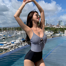 Korea Patchwork Swimsuit One-piece Lace Up Sexy Swimwear Womens Monokini Bathing Suit Girls Black Beachwear 2019 New Arrival