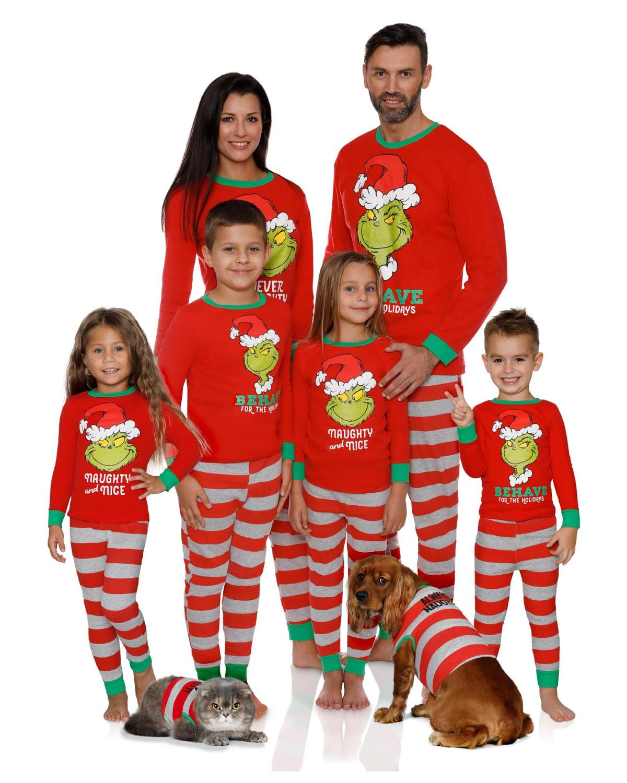 Christmas Pajamas Family Outfits Clothes Matching Long Sleeve T Shirt Pants Set Xmas Nightwear Dad Mom Parent Children Sleepwear