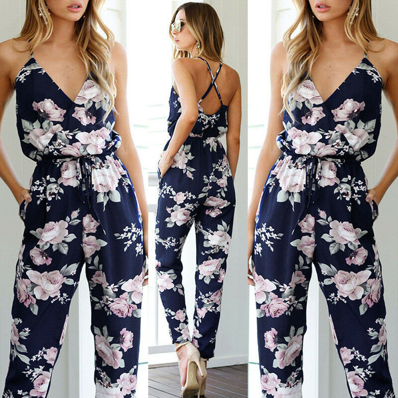 Summer Women Ladies Sexy Sleeveless Deep V-Neck Evenning Party Jumpsuit Romper Long Trousers Pants Holiday Casual Wear