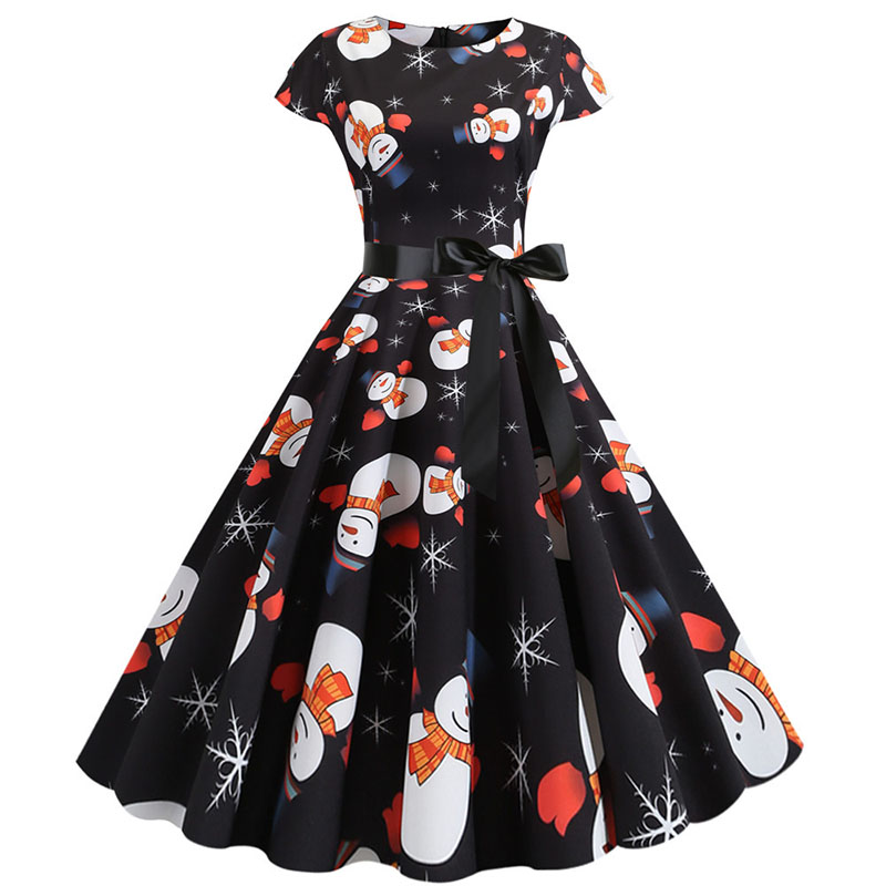 Women Christmas Party Dress robe femme Plus Size Elegant Vintage Short Sleeve Xmas Summer Dress Black Casual Midi Jurken Vestido 753