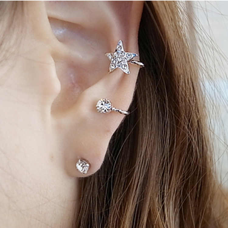 Fashion No Pierced Sweet Flash Imitation Stars Earcuff Crystal Clip-on Clip Earrings Without Piercing For Women Charm Jewelry