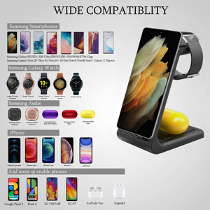 Image 3 - 15W Wireless Charger QI 3 in 1 Wireless Charging Station For Samsung Galaxy S20 S10 S9 Buds+ Watch Active2/1 iPhone 12/11/X/8