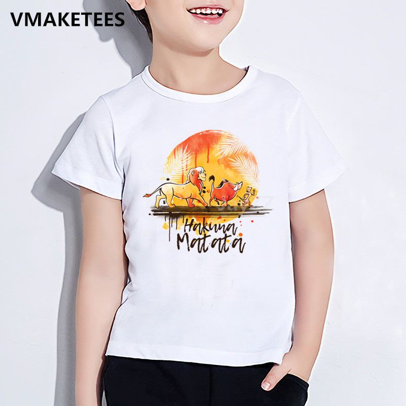 Kids <font><b>Hakuna</b></font> <font><b>Matata</b></font> <font><b>Lion</b></font> <font><b>King</b></font> Cartoon Print T-shirt Children Funny Clothes Girls & Boys Summer White Baby T shirt,HKP2447 image