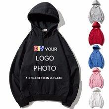 Männer/Frauen Nach hoodies DIY Logo Foto Text Drucken mit kapuze Hoodie Stickerei Angepasst sweatshirt baumwolle hohe qualität streetwear