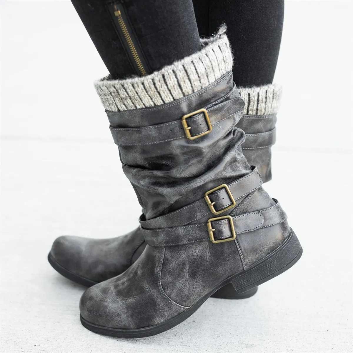 Wenyujh Mùa Đông 2019 Giày Giày Bốt Nữ Mới Khóa Len Trang Trí Chắc Chắn Giữa Da Bê Dày Giày Boot Cao Gót Ấm Áp giày Nữ