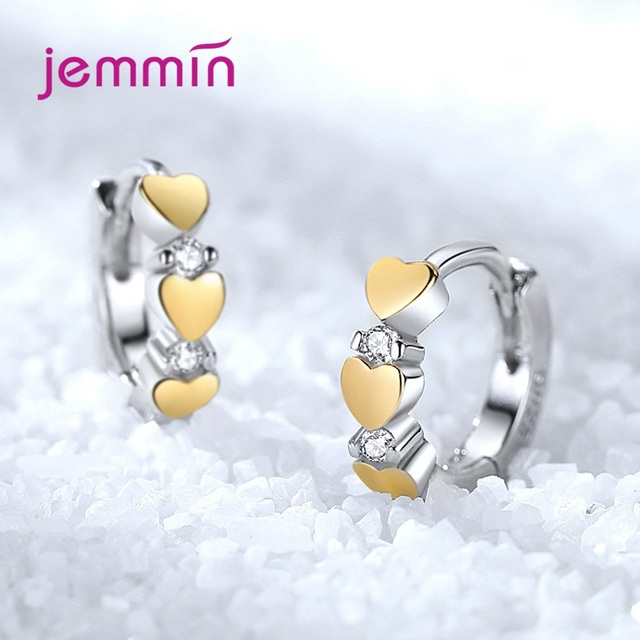 925 Sterling Silver Hoop Earrings Fashion Jewelry For Women Girls Party Engagement Romantic Heart Design Good Quality 1
