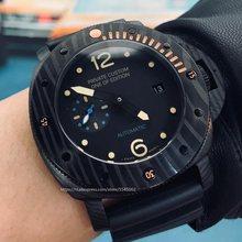 New 44mm men's watch automatic mechanical sapphire black dial watch male date waterproof black case wholesale