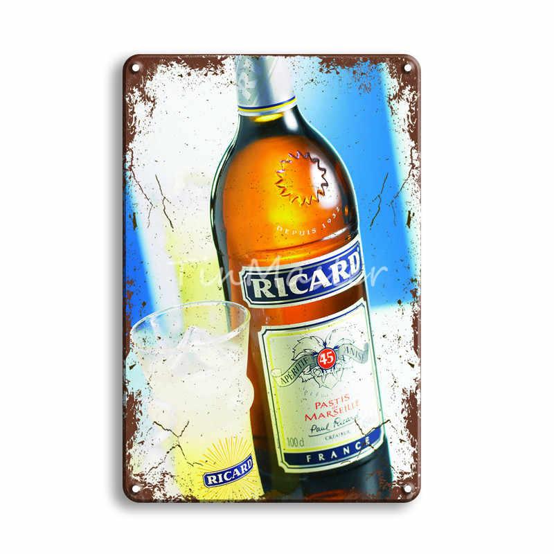 Ricard Bir Tanda Timah Logam Vintage Havana Club Poster Tanda Logam Antik Irish Pub Bar Cafeteria Dapur Seni Dinding Rumah dekorasi