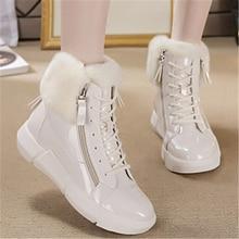 SWONCO פלטפורמת סניקרס החורף חם נעלי נשים שלג מגפי צד ציפר 2019 חדש נקבה סיבתי נעלי לבן קרסול מגפי סניקרס
