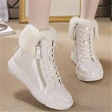 Swonco tênis plataforma para neve, calçado quente para mulheres, bota de neve com zíper lateral, sapato casual branco, 2019