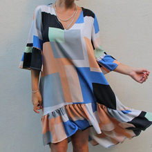 2021 Women's Dress V-neck Casual, All Around, Loose, Multi Color Print, Knee Length Skirt with Mid Sleeve