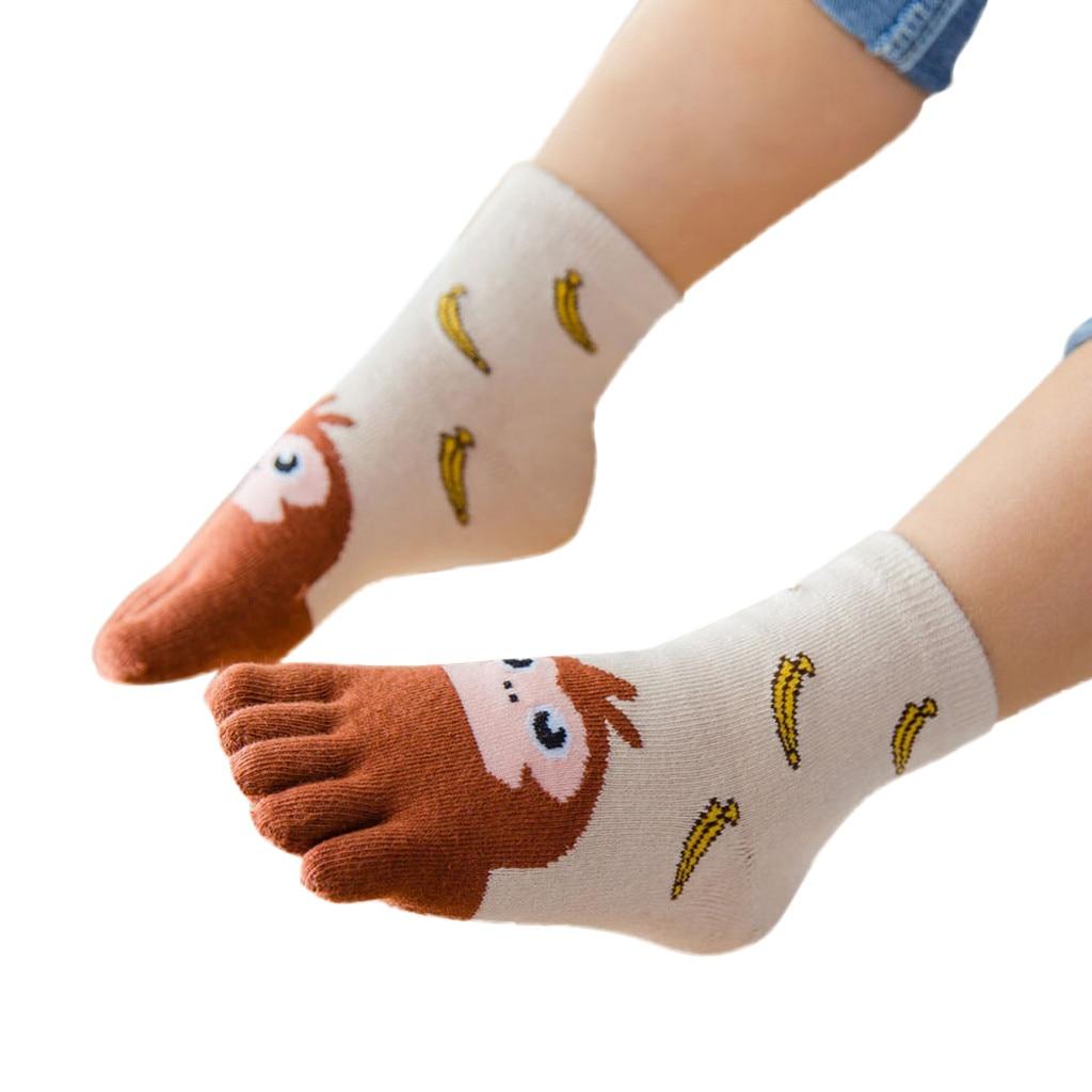 Cute Five Fingers Socks For Kids Girls Boy Winter Soft Floor Cartoon Animal Socks Cotton Indoor Warm Anti-slip Socks Y820