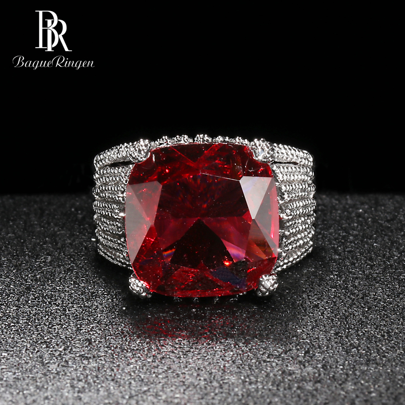 Bague Ringen Luxury Ruby Ring For Women Geometry Classic Silver 925 Jewelry Large Gemstones Banquet Queen Size6,7,8,9,10 Party