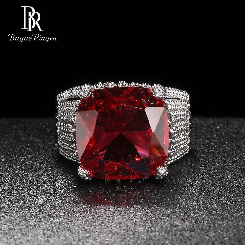 Best Offer Bague Ringen Luxury Ruby Ring For Women Geometry