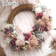 WEIGAO Christmas Wedding Rattan Wreath Garland 15/20/25/30cm Party New Year Decorations For Home Navidad 2020
